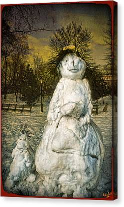 The Grunge Snowperson And Small Goth Friend Canvas Print by Chris Lord