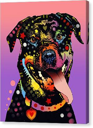 The Happy Rottie Canvas Print by Dean Russo