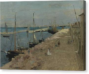 The Harbor At Cherbourg Canvas Print by Berthe Morisot