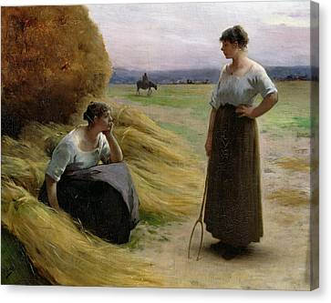 The Harvesters Canvas Print by Henri Lerolle