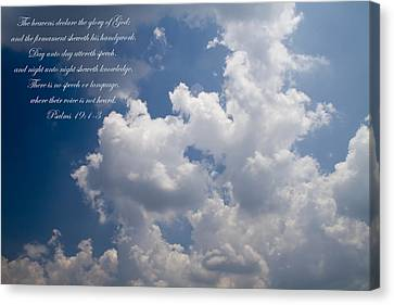 The Heavens Declare The Glory Of God Canvas Print by Kathy Clark