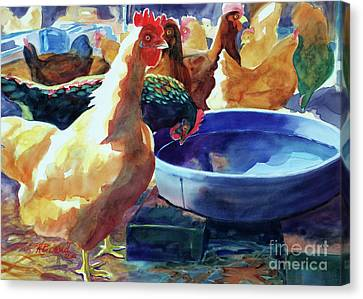 The Henhouse Watering Hole Canvas Print by Kathy Braud