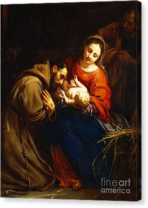 The Holy Family With Saint Francis Canvas Print by Jacob van Oost