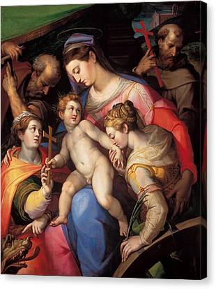 The Holy Family With St Catherine Of Alexandria, St Margaret Of Antioch And St Francis Of Assisi  Canvas Print by Orazio Samacchini