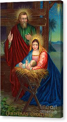 The Holy Family With The Christ Child Canvas Print by American School