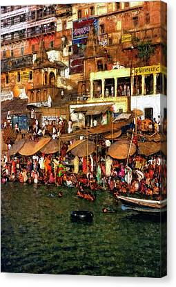 The Holy Ganges Impasto Canvas Print by Steve Harrington