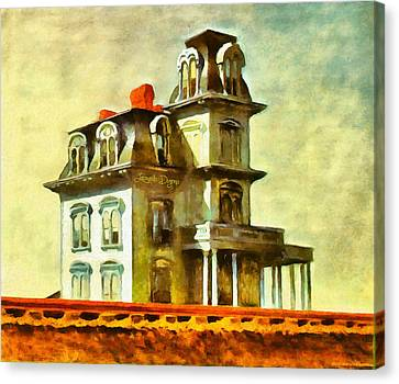 The House Of The Railroad By Hopper Revisited - Da Canvas Print by Leonardo Digenio