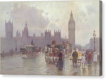 The Houses Of Parliament From Westminster Bridge Canvas Print by Alberto Pisa