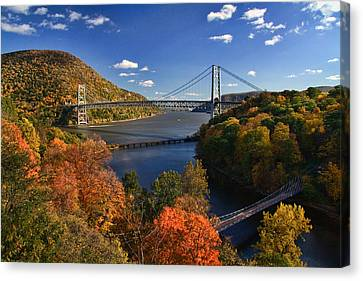 The Hudson River Valley In Autumn Canvas Print by June Marie Sobrito
