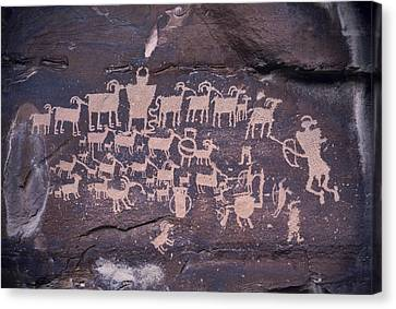 The Hunt Scene- Ancient Pueblo-anasazi Canvas Print by Ira Block