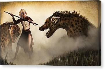 The Hyaenodons - Allie's Battle Canvas Print by Mandem