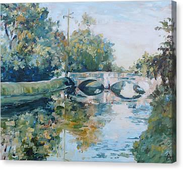The Illinois Street Bridge Indianapolis Canvas Print by Azhir Fine Art