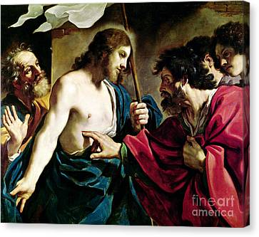 The Incredulity Of Saint Thomas Canvas Print by Guercino
