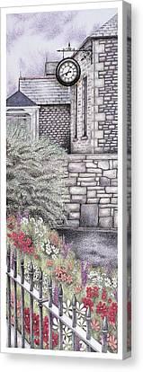 The Institute Clock   Caton  Lancashire Canvas Print by Sandra Moore
