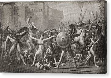 The Intervention Of The Sabine Women Canvas Print by Vintage Design Pics