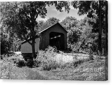 The James Covered Bridge Bw Canvas Print by Mel Steinhauer