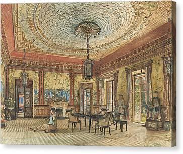 The Japanese Salon, Villa Hugel, Hietzing, Vienna Canvas Print by Rudolf von Alt