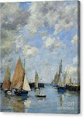 The Jetty At High Tide Canvas Print by Eugene Louis Boudin