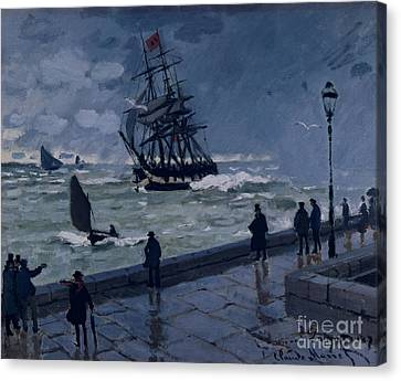 The Jetty At Le Havre In Bad Weather Canvas Print by Claude Monet