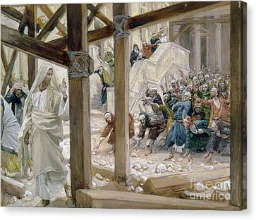 The Jews Took Up Stones To Cast At Him Canvas Print by Tissot