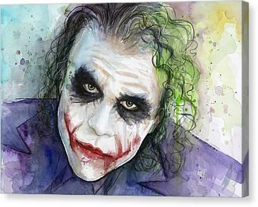 The Joker Watercolor Canvas Print by Olga Shvartsur