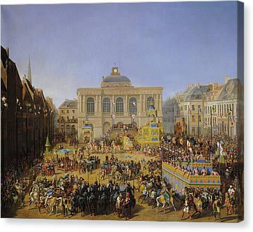 The Kermesse At Saint-omer In 1846 Canvas Print by Auguste Jacques Regnier