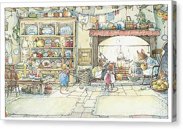 The Kitchen At Crabapple Cottage Canvas Print by Brambly Hedge