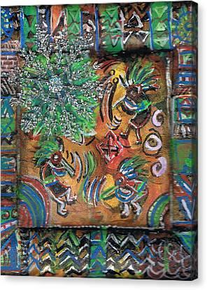 The Kokopelli Greenery Canvas Print by Anne-Elizabeth Whiteway