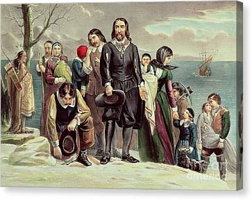 The Landing Of The Pilgrims At Plymouth Canvas Print by Currier and Ives