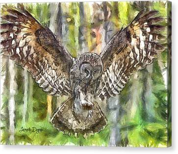 The Largest Owl - Da Canvas Print by Leonardo Digenio