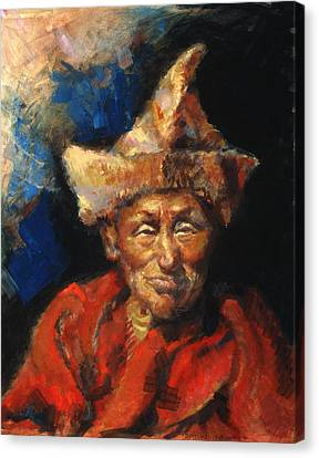 The Laughing Monk Canvas Print by Ellen Dreibelbis