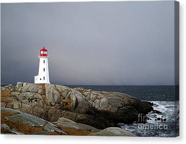 The Lighthouse At Peggys Cove Nova Scotia Canvas Print by Shawna Mac
