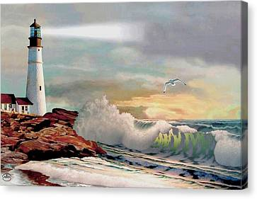 The Lighthouse At Portland Head Canvas Print by Ron Chambers
