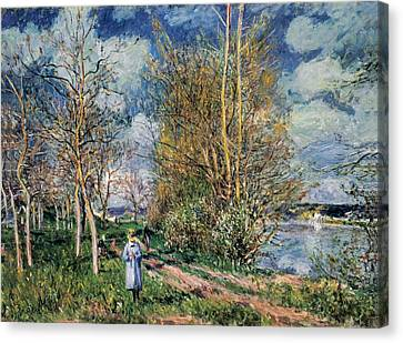 The Little Meadows In Spring Canvas Print by Alfred Sisley