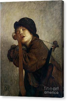 The Little Violinist Sleeping Canvas Print by Antoine Auguste Ernest Hebert