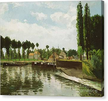 The Lock At Pontoise Canvas Print by Camille Pissarro