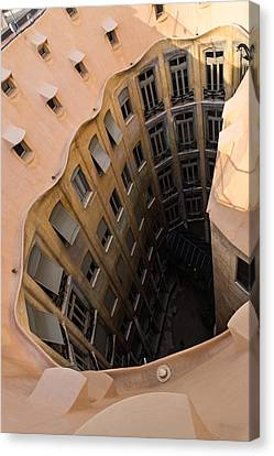 The Lost Straw Hat - Antoni Gaudi La Pedrera Courtyard From Above - Vertical Canvas Print by Georgia Mizuleva