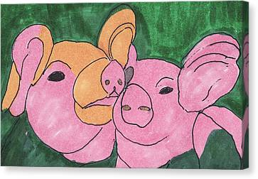 The Love Piglets Canvas Print by Golden Dragon