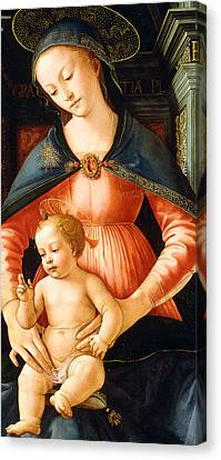 The Madonna And Child Enthroned Canvas Print by Italian School