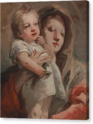 The Madonna And Child With A Goldfinch Canvas Print by Tiepolo