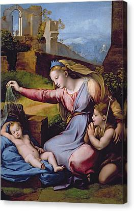 The Madonna Of The Veil Canvas Print by Raphael