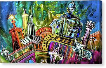 The Magical Rooftops Of Prague 02 Canvas Print by Miki De Goodaboom