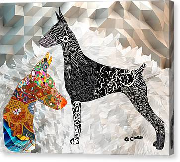 The Magnificent Doberman Canvas Print by Maria C Martinez