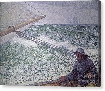 The Man At The Tiller Canvas Print by Theo van Rysselberghe