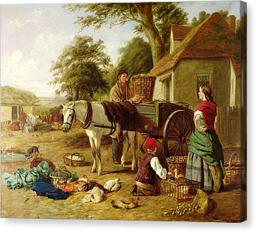 The Market Cart Canvas Print by Henry Charles Bryant
