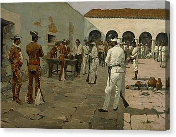 The Mier Expedition The Drawing Of The Black Bean  Canvas Print by Frederic Remington