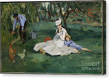 The Monet Family In Their Garden At Argenteuil Canvas Print by Celestial Images