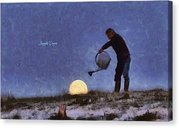 The Moon Keeper - 2 Of 7 Canvas Print by Leonardo Digenio