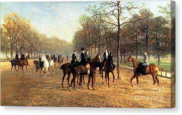 The Morning Ride Rotten Row Hyde Park Canvas Print by Heywood Hardy
