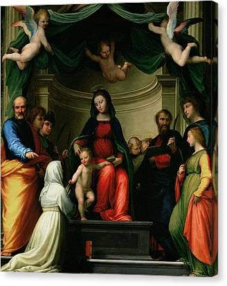 The Mystic Marriage Of St Catherine Of Siena With Saints Canvas Print by Fra Bartolommeo - Baccio della Porta